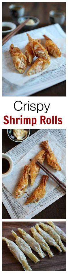 Crispy Shrimp Rolls - best dim sum ever!! Crispy, delicious shrimp rolls that you can make at home, so easy!!   rasamalaysia.com