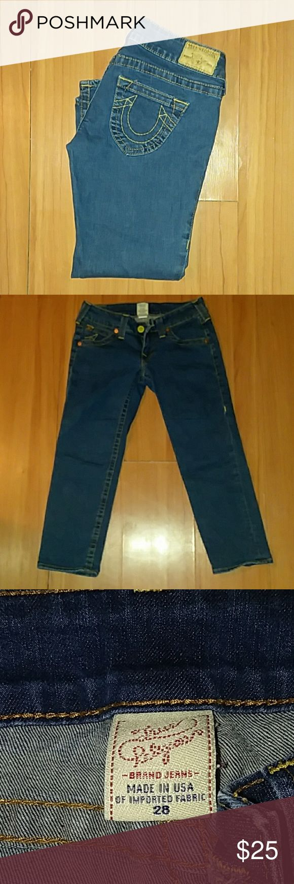 True Religion cropped jeans Excellent condition cropped True Religion jeans. No flaws. True Religion Jeans Ankle & Cropped