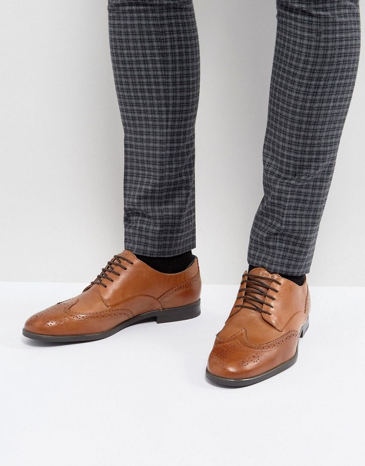 H London Indus Leather Brogue Shoes In Tan - Tan
