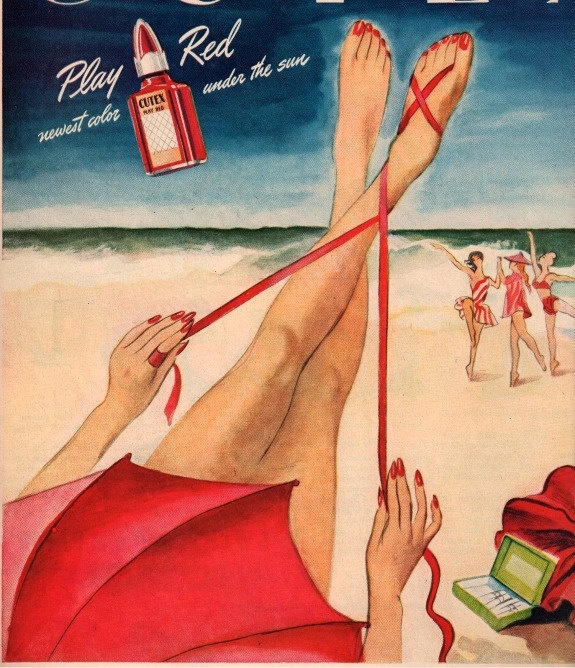 vintage pinup beach 1951 cutex nail polish advertisement. $14.95, via Etsy.