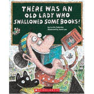 """Activities (and FREE printables) to accompany the book """"There Was an Old Lady Who Swallowed Some Books."""""""