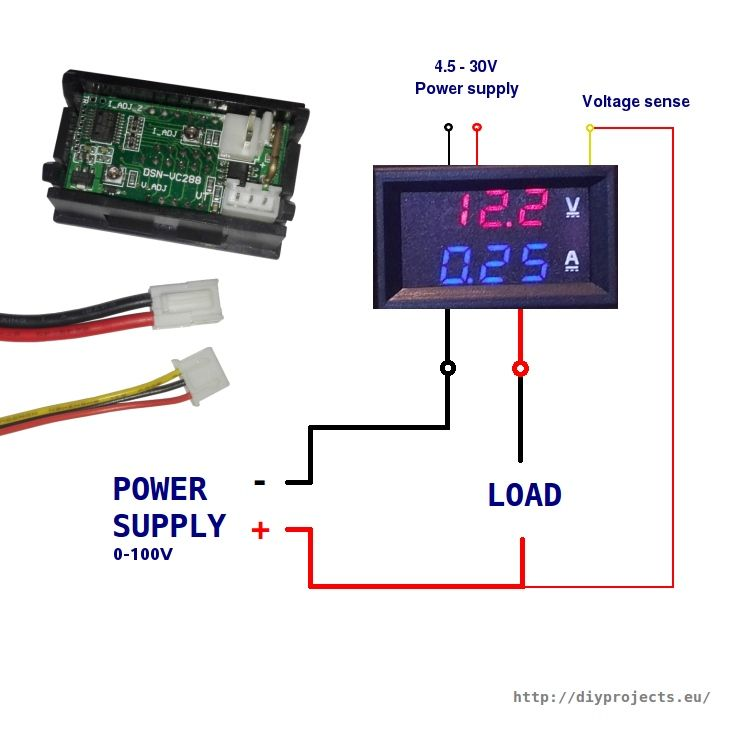 How To Wire Digital Dual Display Volt And Ammeter Diy Projects Electronics Basics Electronic Schematics Electronics Projects Diy