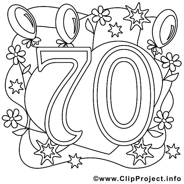 ausmalbild zum 70 geburtstag  geburtstag malvorlagen 70