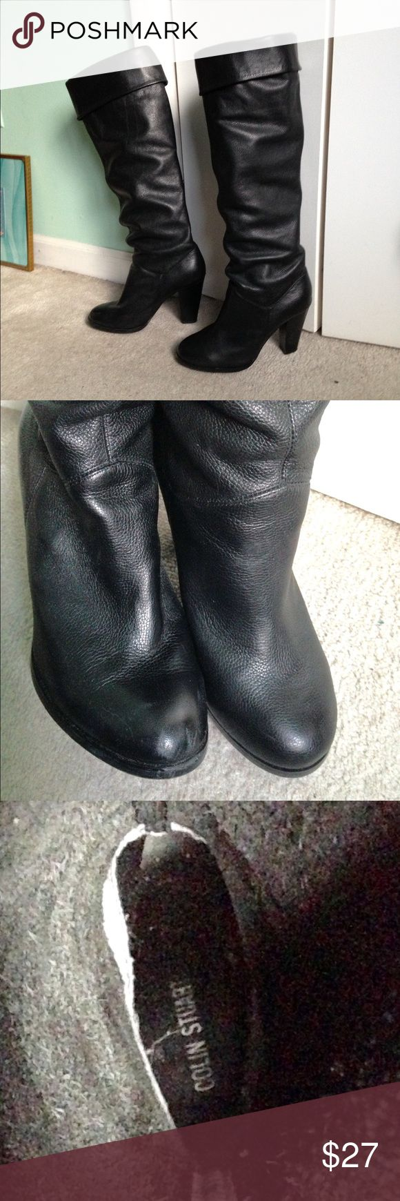 "Colin Stuart Tall Boots 9 Colin Stuart tall black leather pirate fold-over knee boots, beautiful quality leather. Heels 4"" high, no damage, EUC. I wore once to NYE party. One tiny scuff on right toe. Measure 20"" from floor to top. Size 9, true to size. Colin Stuart Shoes Heeled Boots"