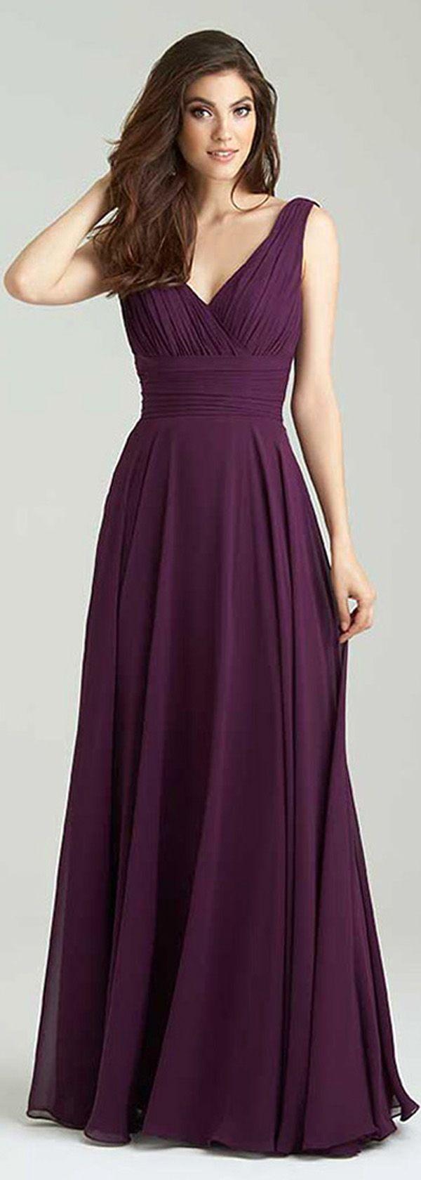 Gorgeous Chiffon V-Neck Neckline A-Line Bridesmaid Dresses With Pleats