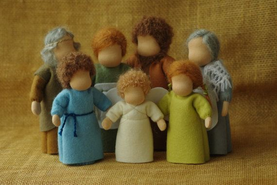 Waldorf table puppets - family - a set of 7 persons // Fairy tale set