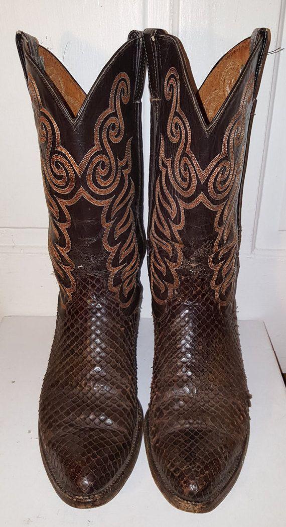 BOTAS vaqueras de piel de serpiente / / cuero botas cosido bordado marrón Chocolate oscuro tamaño 9 puntiagudos apenado serpiente hombres piel Sullivan