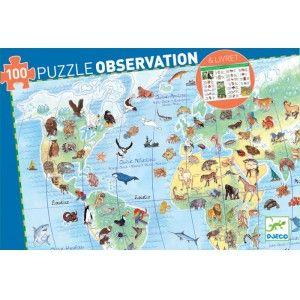 Puzzle obserwacyjne Zwierzęta Świata 100 el - DJECO DJ07420 - Tuliluli.pl