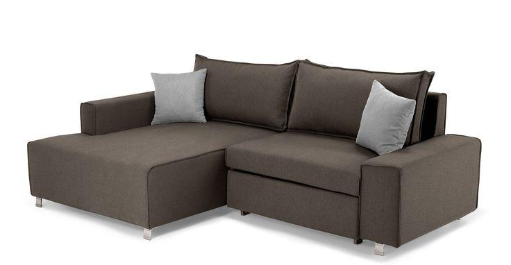 Mayne, canapé d'angle gauche convertible, gris sombre