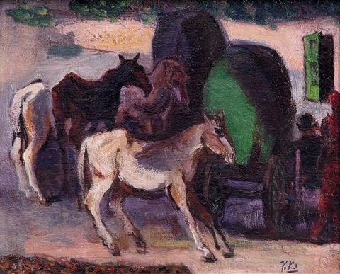 Horses by Pravoslav Kotík  Pravoslav Kotík (1889, †1970 v Praze) byl český malíř a grafik.