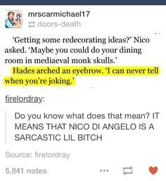 But Nico can't beat Percy in being sassy, because Persassy.