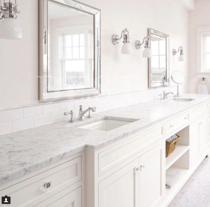 Bathroom inspiration Bellasera Kitchens  Love the white on white, very spa like. Classic