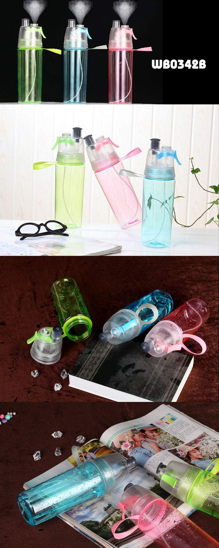 2in1 Spraying Bottle with Water Bottle    ● Material:TRITAN    ● Size:7*24CM ,550ML VOLUME    ●  Easy carry,to cold down when hot weather and make you feel comfortable,also can be normal bottle for drinking used www.ideagroupigm.com