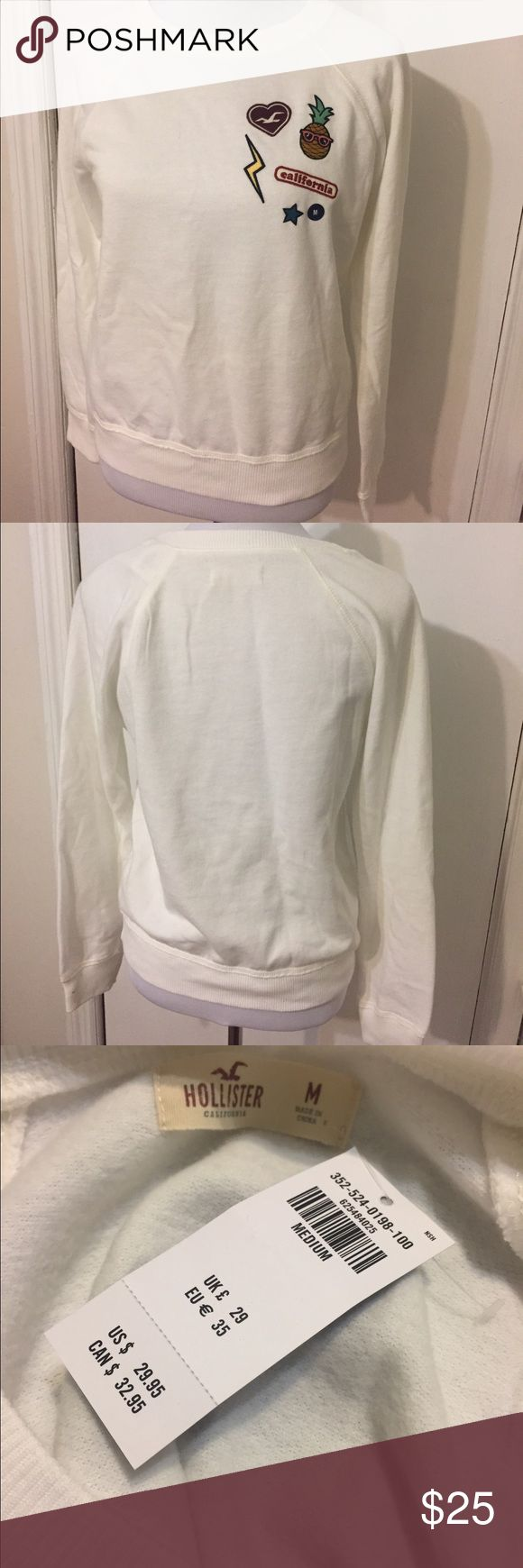 HOLLISTER CALIFORNIA SWEATER size M HOLLISTER CALIFORNIA SWEATER size M. Brand new with tag. This is a cute cozy sweater, the color is more like a bone color of-white Hollister Sweaters
