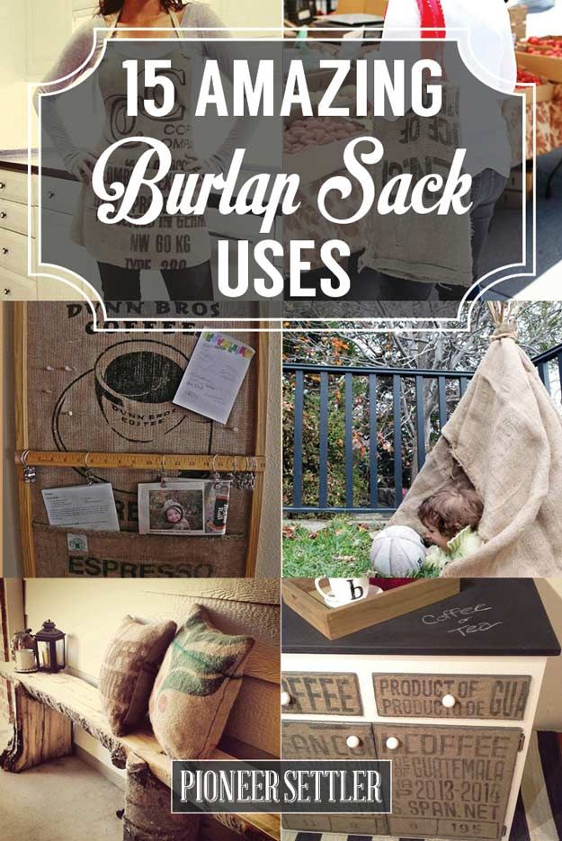 15 Burlap Sack Uses (Not Just a Bag of Potatoes) | DIY Craft Projects To Home Decor by Pioneer Settler at http://pioneersettler.com/15-burlap-sack-uses/