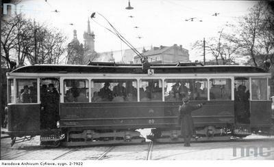 ramwaj nr 5 w Krakowie. Wagon sprowadzony z Norymbergii. Maj 1941