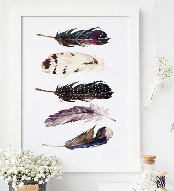 dorm wall art Feather print, printable art, feather Art, boho wall art, Feather…