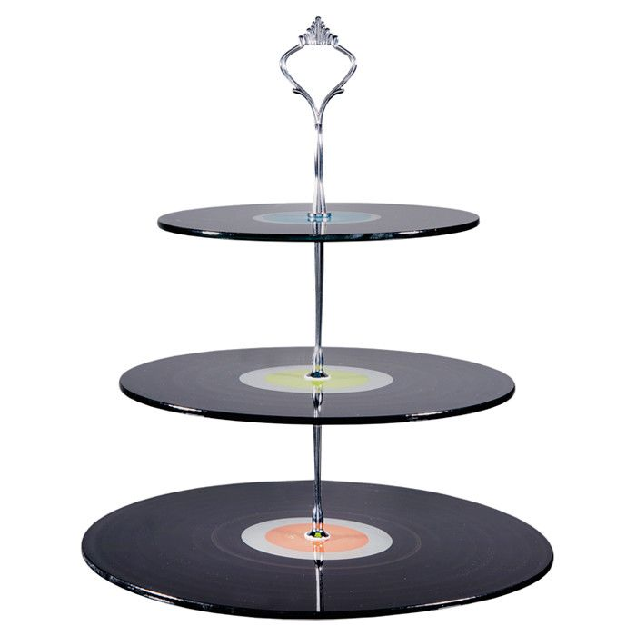 Glass Record Three-Tier Pastry Stand