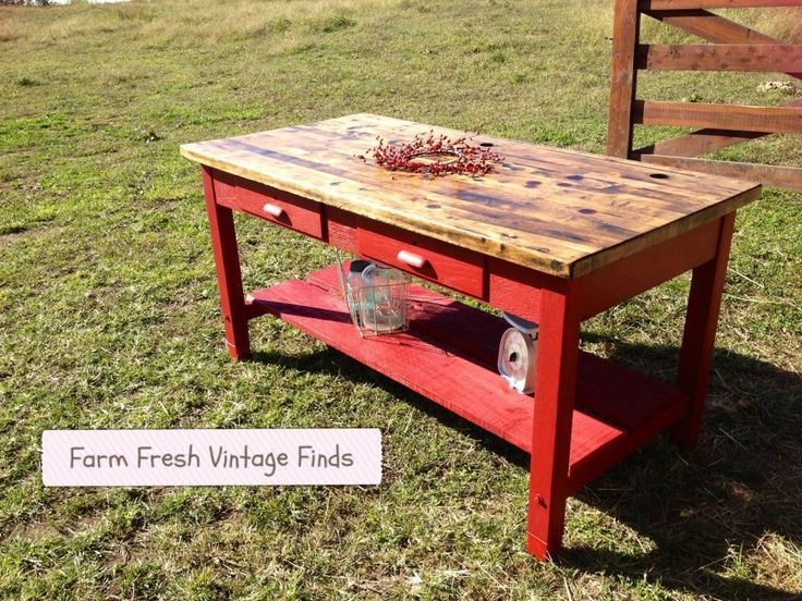 ~Red Kitchen Island~ - Farm Fresh Vintage Finds