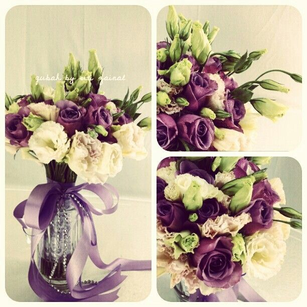 Bridal hand bouquet purple and peach