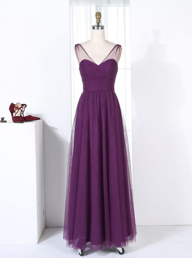 Purple Bridesmaid Dresses,Tulle Bridesmaid Dresses,Long Bridesmaid Dress,11351