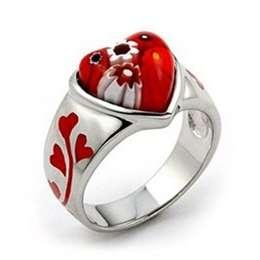 heart: Glasses Jewelry, Heart Rings, Murano Glasses, Beautiful Rings, Red Heart, Millefiori Heart, Glasses Millefiori Jewelry, Sterling Silver Rings, Red Murano