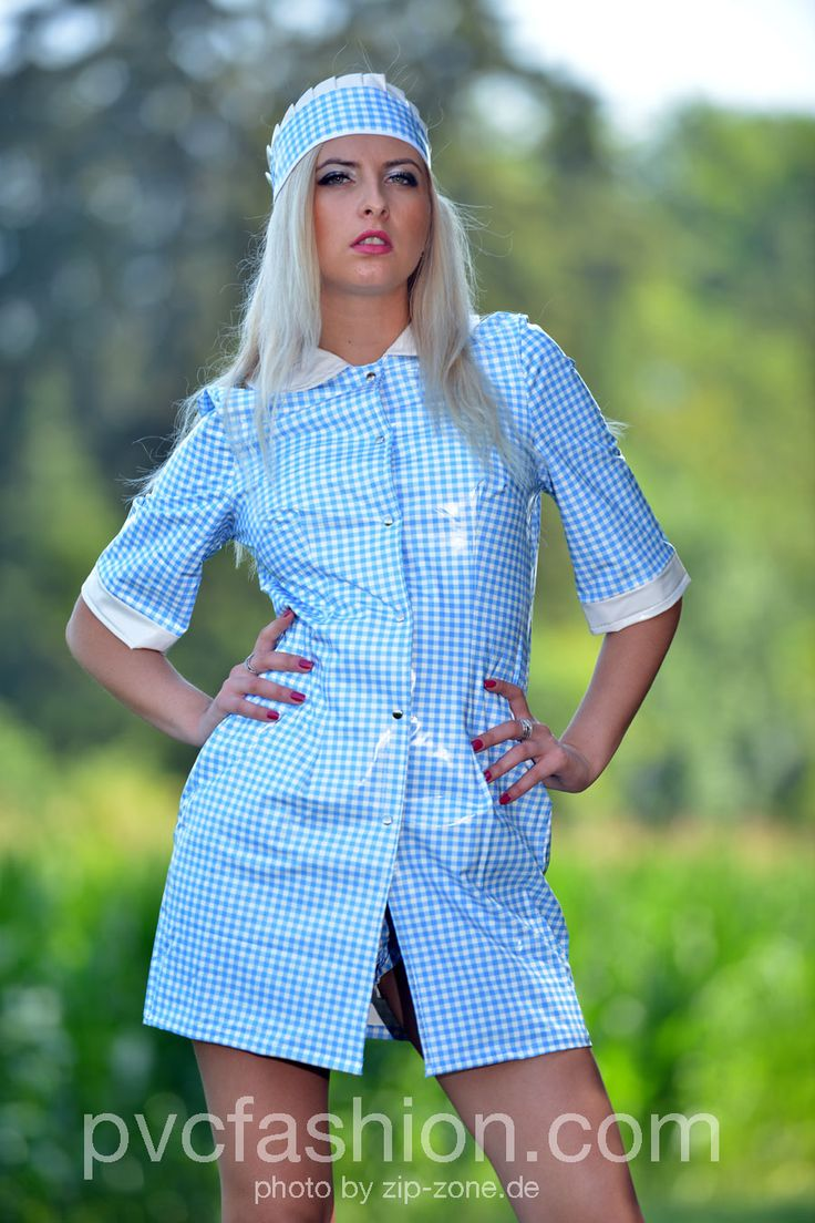 PVC Maid Outfit in the new gingham blue material kemo ...