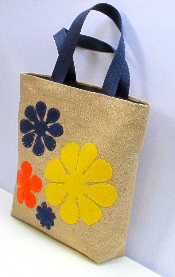 Flores yute bolsa grande, hecho a mano, artístico, appliqued, resort, mochila, bolso de la playa, pañalera