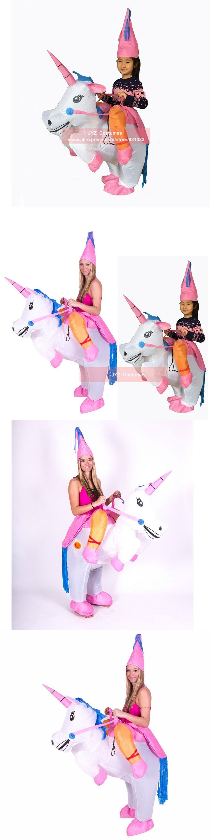 Inflatable Unicorn Fancy Dress Kids Adult Horse Riding Costumes for Halloween Carnival Dance Party Boys Girls Inflated Outfit