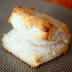 Fluffy, flaky, buttermilk biscuits, cut square so there