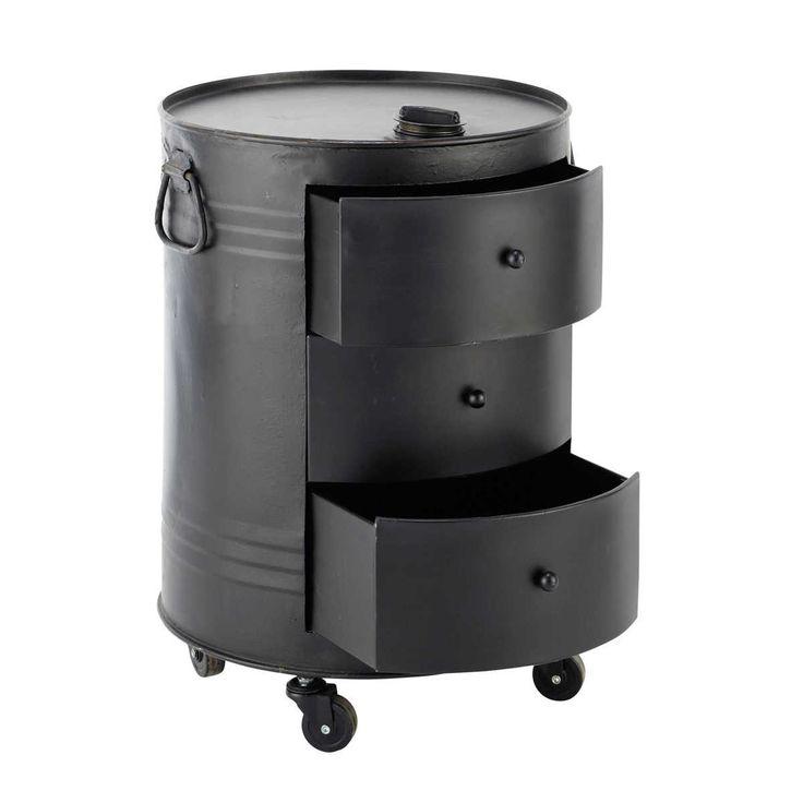 bout de canap bidon en m tal noir l 42 cm clark clarks. Black Bedroom Furniture Sets. Home Design Ideas