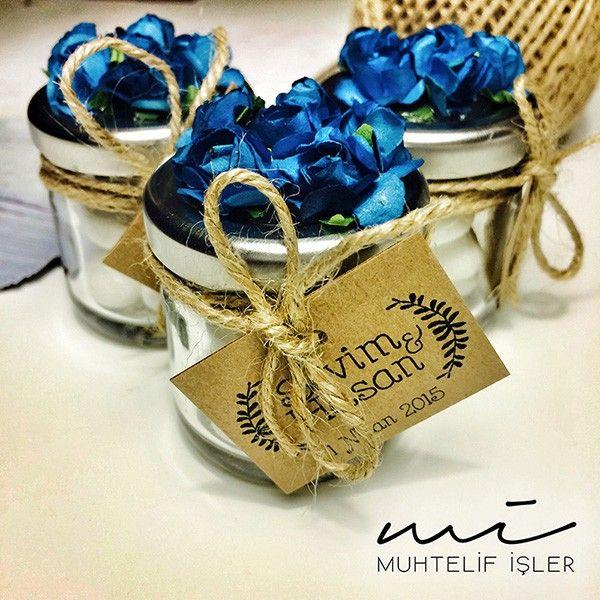 03 Mavi çiçekli badem şekeri kavanozu
