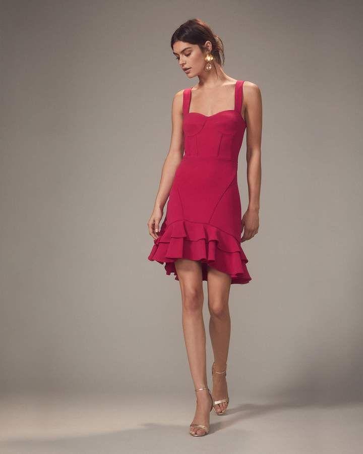 0fc959524 Jonathan Simkhai Pink Bustier Ruffle Hem Mini Dress