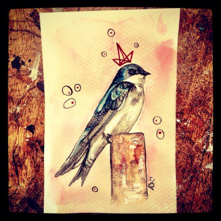 #aga #watercolor #bird #swallow #crown