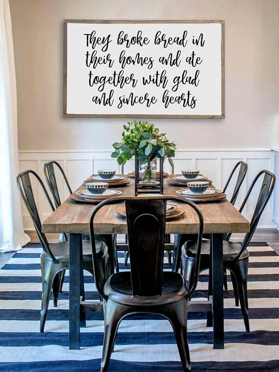 [ DETAILS ] This Wood Framed Sign Includes The Quote They Broke Bread In  Their Homes And Ate With Glad And Sincere Hearts On It Painted In Black  With A ...
