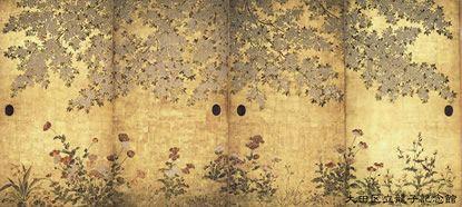 """伝 俵屋宗達 """"桜芥子図襖"""". Cherry Blossoms and Poppies. Fusuma. Sotatsu School. Japan. 1600s. Ryushi Memorial Museum. Tokyo."""
