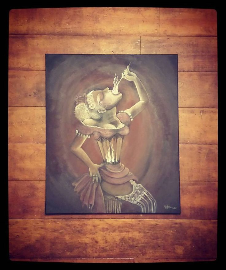"Original Acrylic on Canvas ""The Human Lantern"" - Fire Eater burlesque circus corset fire in the belly by elkeart on Etsy"