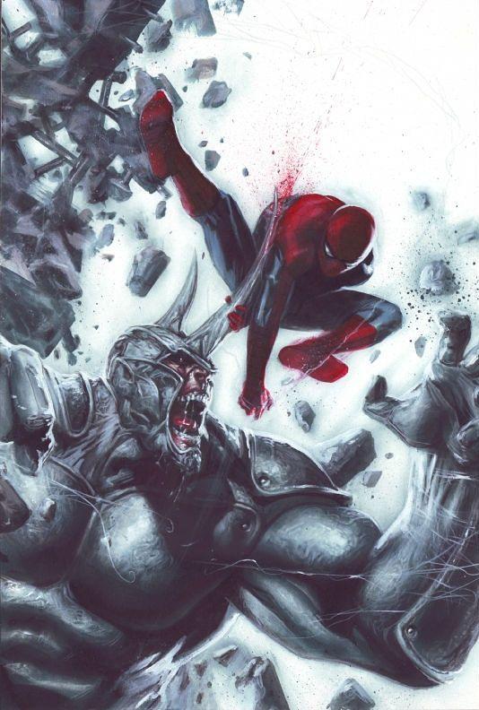 spiderman fan art spidy vs rhino by gabriele dell