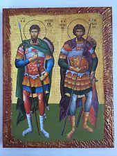 Saint TheodorosTiron-Stratilatis -handmade Greek orthodox Russian byzantine icon