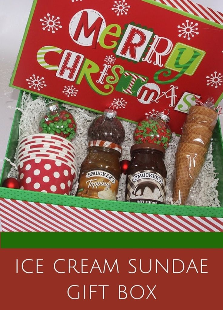 Ice Cream Sundae Gift Box with toppings in plastic ornaments. Super cute!