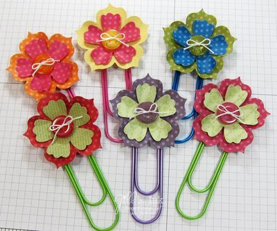 Stampin' Up! Fun Flowers Paper Clip Bookmarks   by Jill Franchett at Jill's Ink