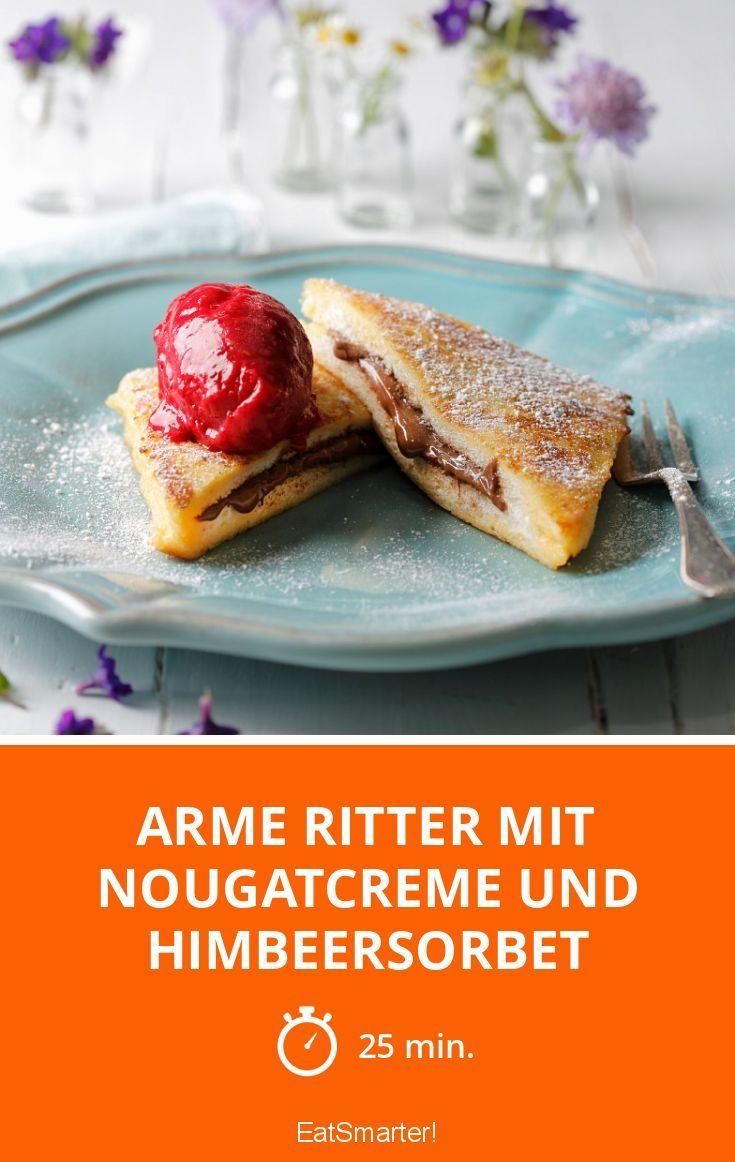 Arme Ritter mit Nougatcreme und Himbeersorbet - smarter - Zeit: 25 Min. | eatsmarter.de