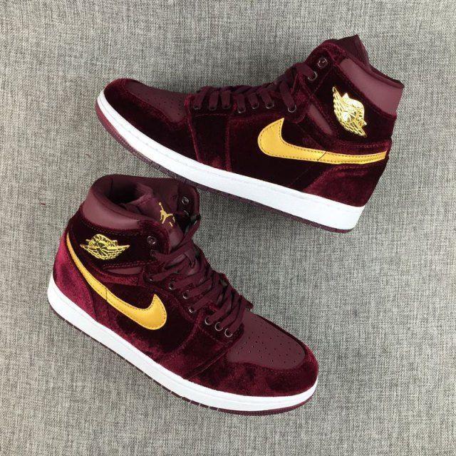 ae2226862df9 Men s Nike Air Jordan 1 HI PREM HC GG Heiress Pack Velvet 832596-640 Men  Basketball Shoes