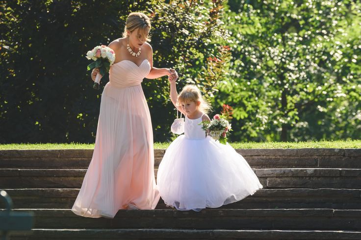 Flower girl and maid of honour, backlit portrait at Parkwood Estates - Oshawa wedding photography
