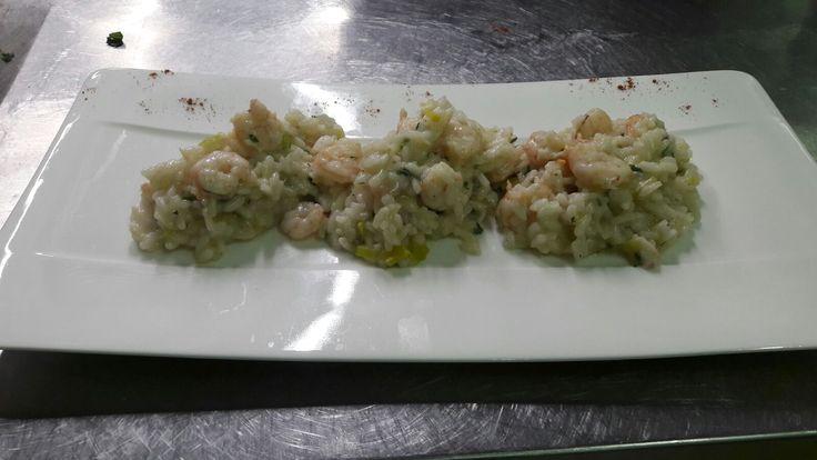 Risotto con spigola e gamberetti...risotto with shrimps and sea bass
