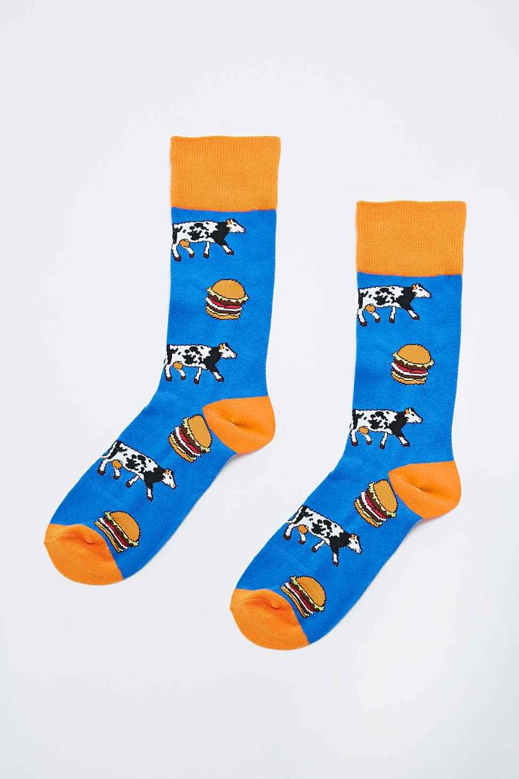 Cow and Burger Socks in Blue - Urban Outfitters