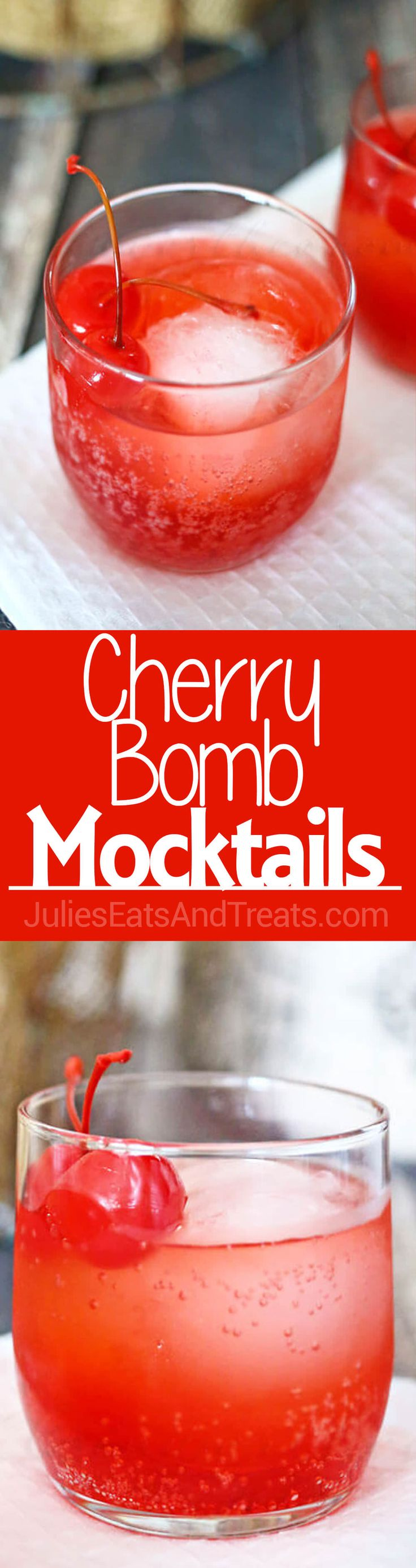 Cherry Bomb Mocktail - Only 3 Ingredients to a Easy, Fun Flirty Drink Loaded with Bubbles and Cherry! ~ http://www.julieseatsandtreats.com