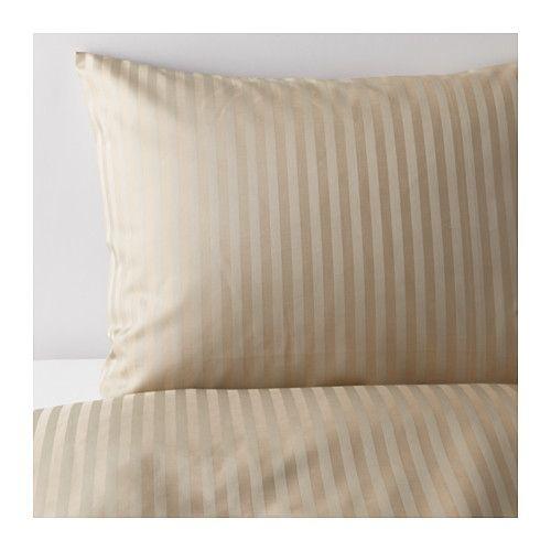 IKEA - NATTJASMIN, Copripiumino e 2 federe, 240x220/50x80 cm, , La biancheria da letto in satin di lyocell/cotone è molto morbida e confortevole e ha una lucentezza che risalta sul letto.Il misto lyocell/cotone assorbe ed elimina l'umidità dal tuo corpo, mantenendolo asciutto per tutta la notte.I bottoni tengono fermo il piumino.
