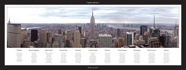 New York Panoramic wedding table plan     . Superb idea. More items here:  http://adriankmarketing.com/products/?cat=13