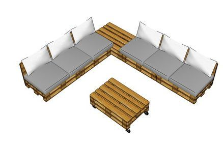 Loungeset 3D bouwtekening voor loungemeubilair van pallethout.